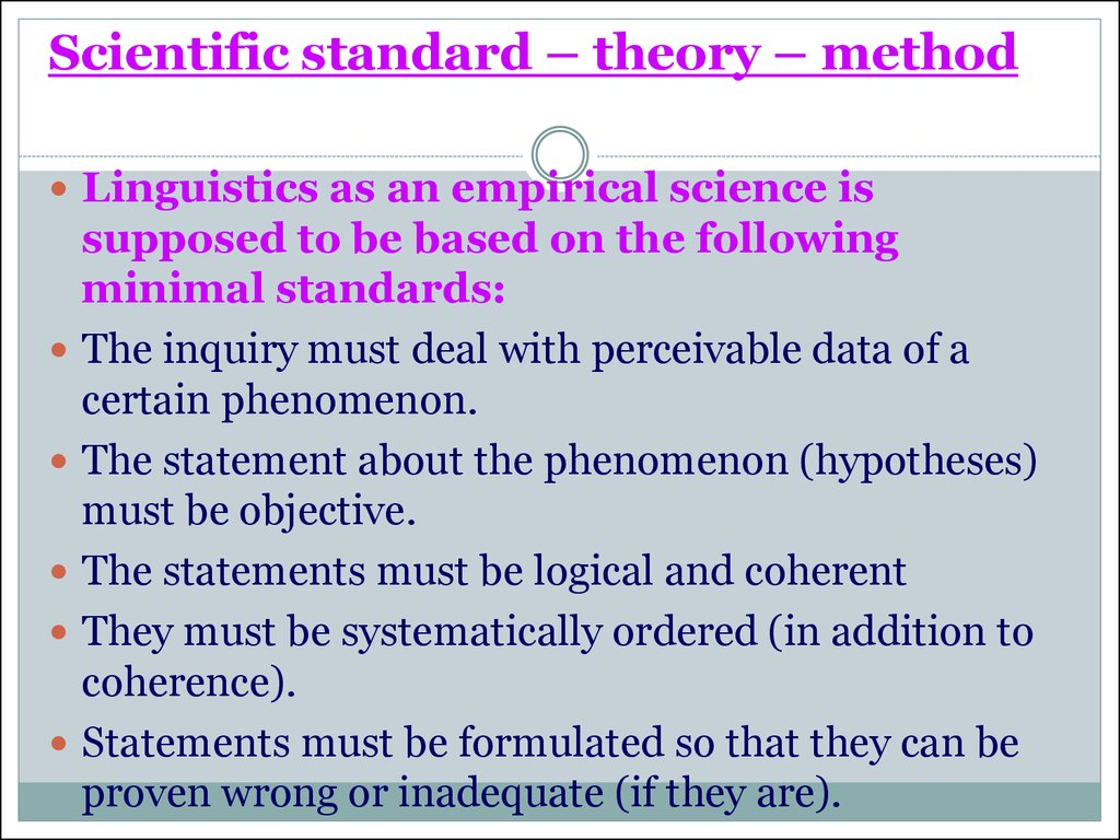 Scientific standard – theory – method