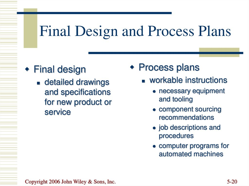 Final Design and Process Plans