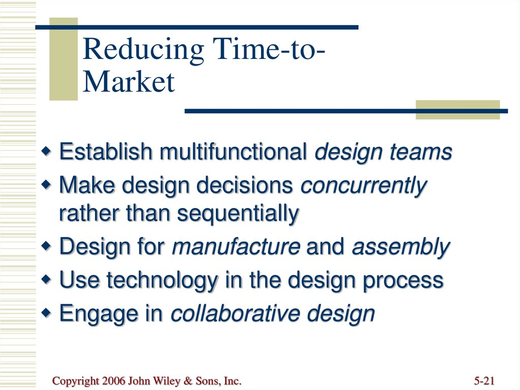 Reducing Time-to-Market