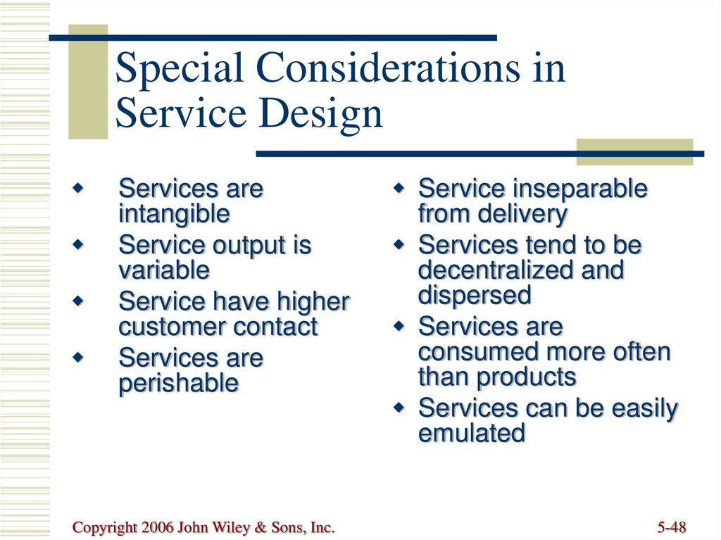 Special Considerations in Service Design