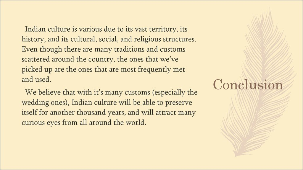Conclusion about indian culture