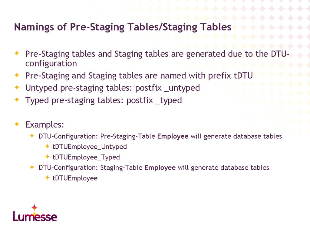 Namings of Pre-Staging Tables/Staging Tables