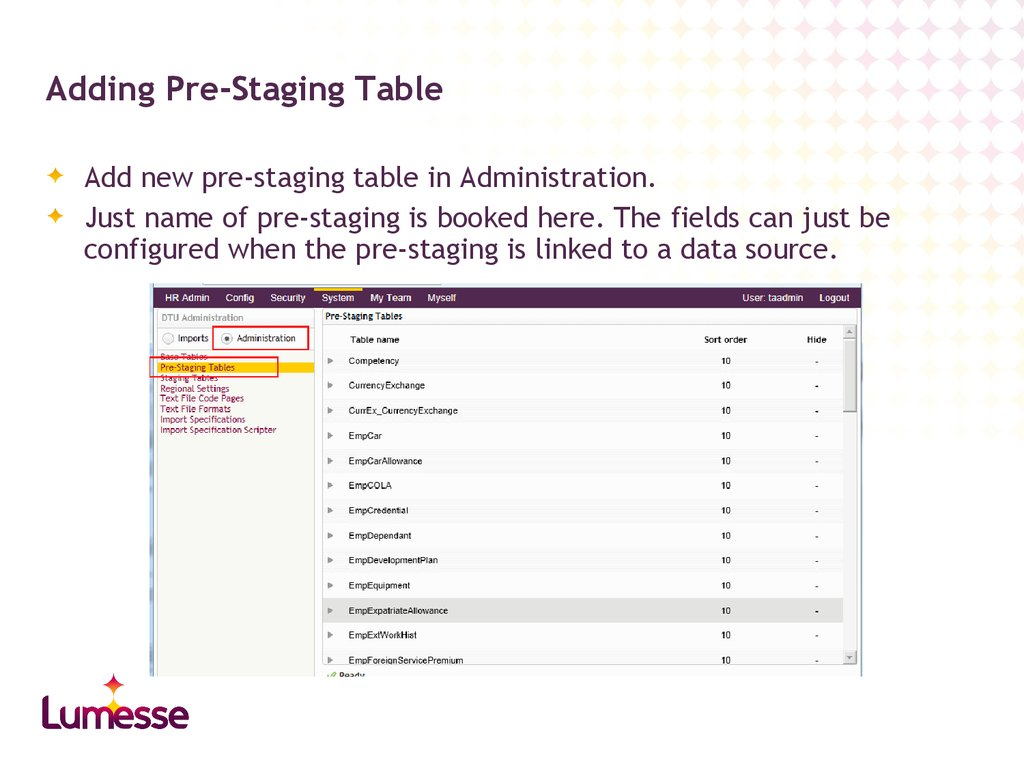 Adding Pre-Staging Table