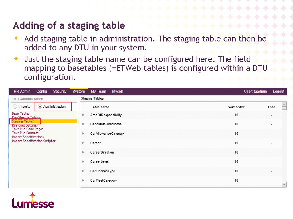 Adding of a staging table