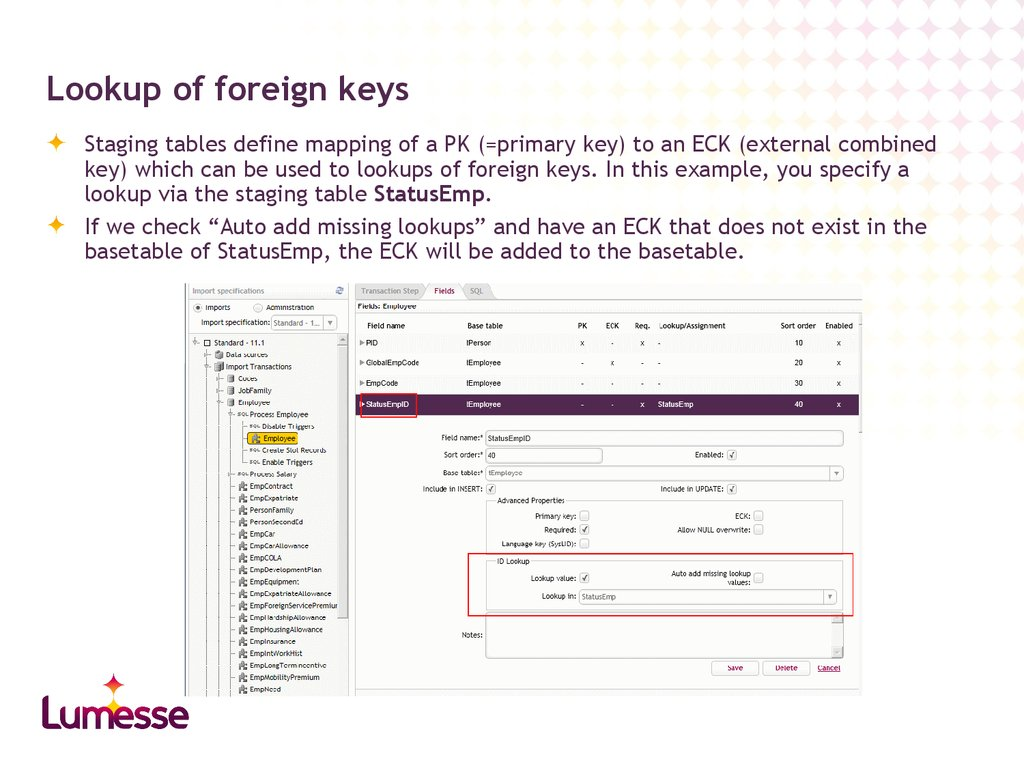 Lookup of foreign keys