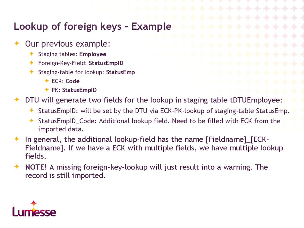 Lookup of foreign keys - Example