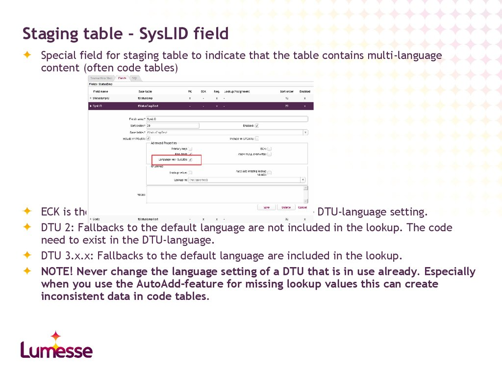 Staging table – SysLID field