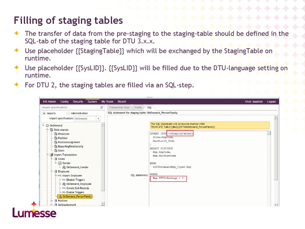 Filling of staging tables