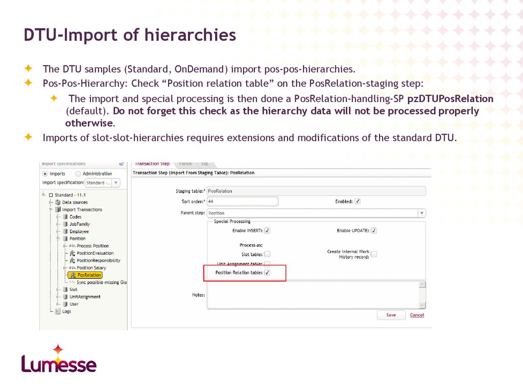 DTU-Import of hierarchies