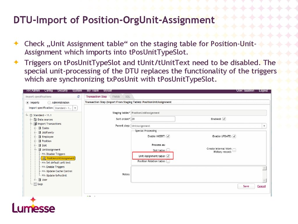 DTU-Import of Position-OrgUnit-Assignment