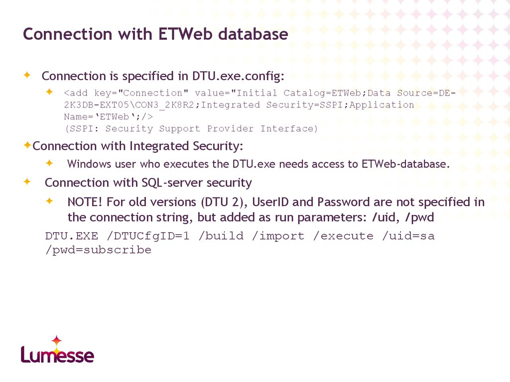 Connection with ETWeb database