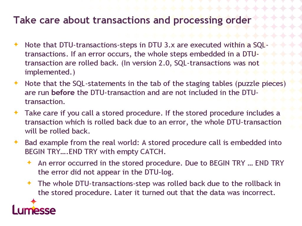 Take care about transactions and processing order