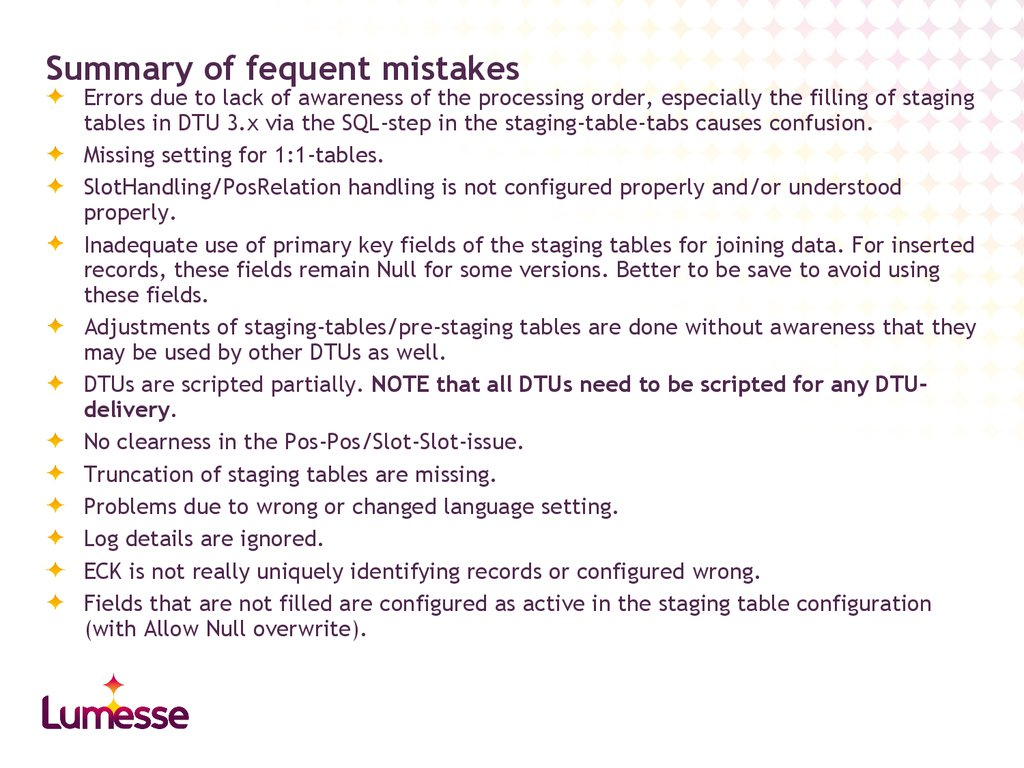 Summary of fequent mistakes