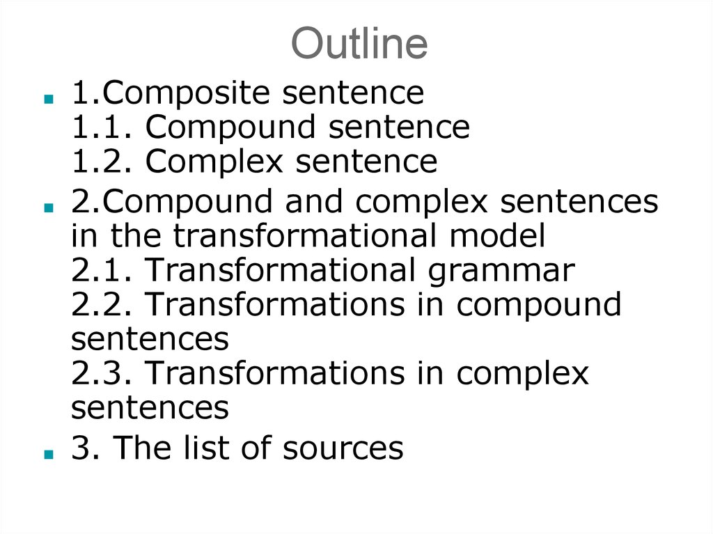 compound and complex sentences and the transformational