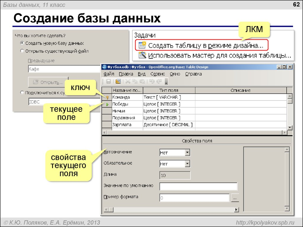 Как сделать базу данных.с примером