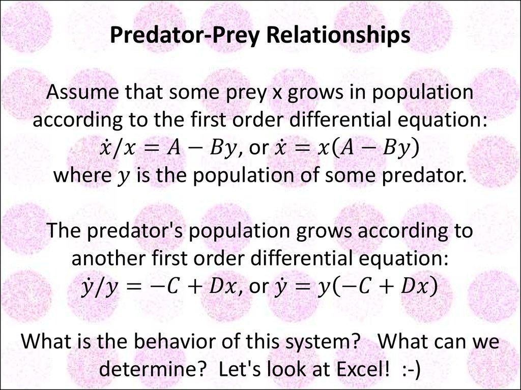 predator prey relationship calculus formulas