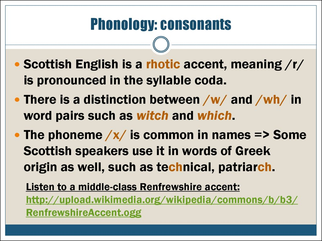Phonology: consonants