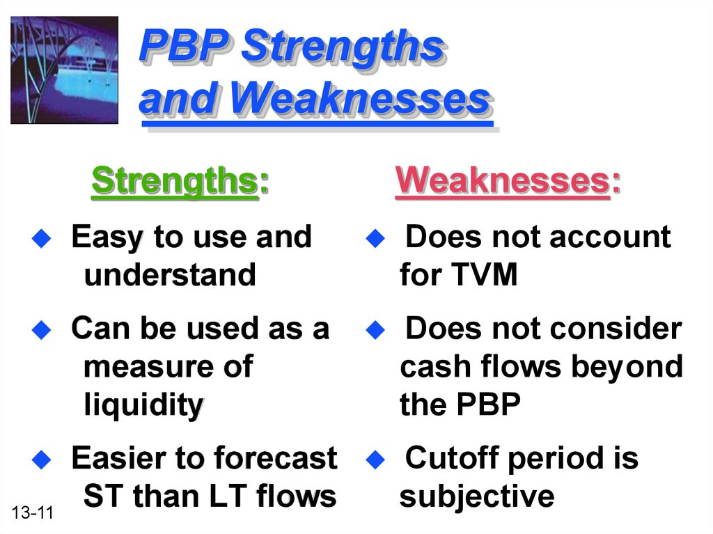 strengths and weaknesses of the payback method of ranking project proposals Alternative methods •payback period (pbp) •internal rate of return (irr) •net present value pi strengths and weaknesses not for sale , print or copy ranking of project proposals may create contradictory results due to.