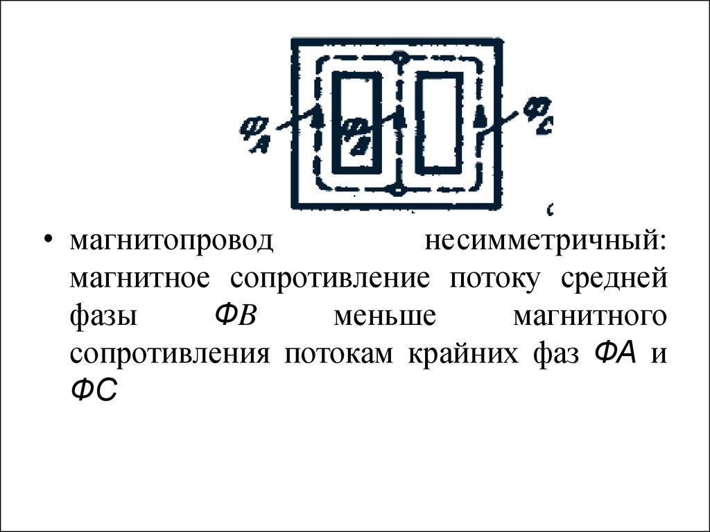 магнитный поток трёхфазного трансформатора схема