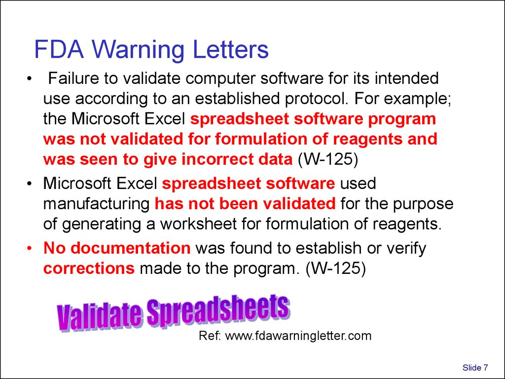 validation and use of exce spreadsheets in regulated