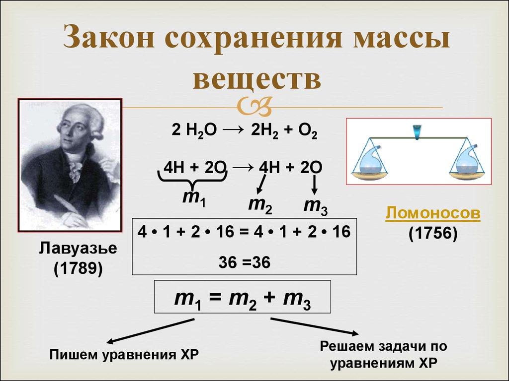 презентация закон сохранения массы веществ 11 класс
