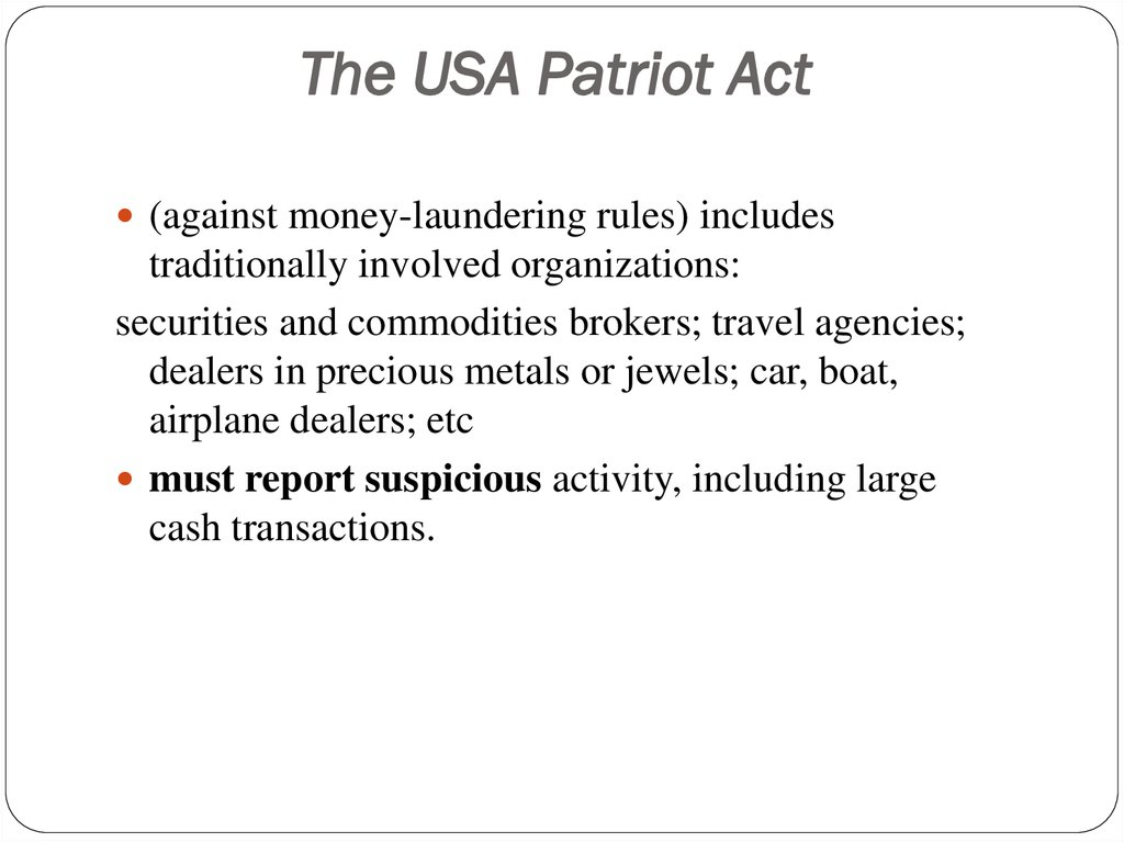 business law week 2 patriot act 2002-10-01  internet surveillance law  internet surveillance law after the usa patriot act  antiterronsm legislation known as the usa patriot act1 the patriot act has been widely understood as a sweeping2 antiterrorism law.