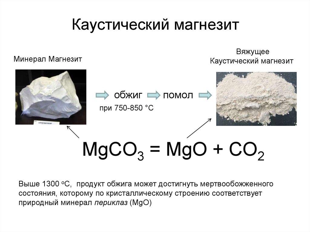 Магнезиальные вяжущие производство
