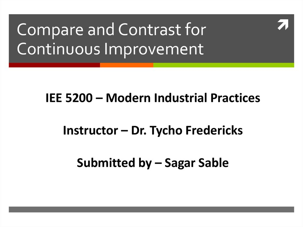 Compare and Contrast for Continuous Improvement