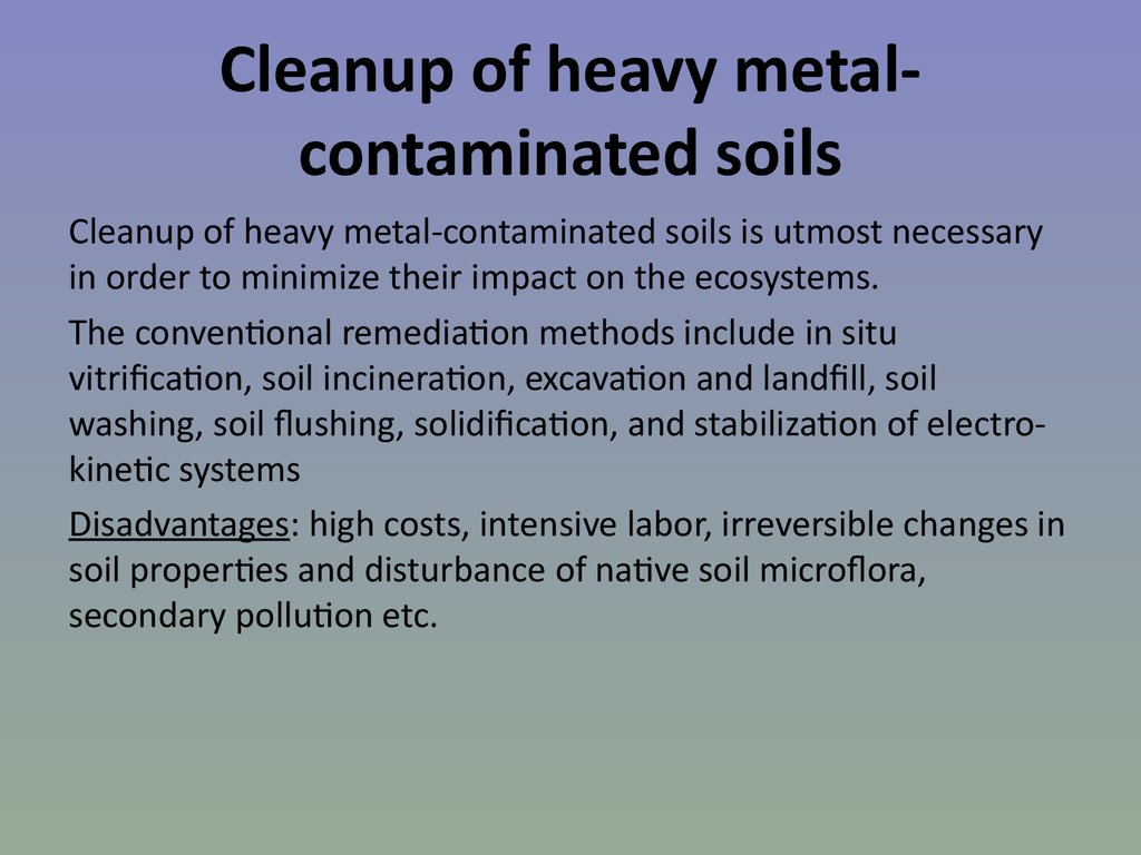 Cleanup of heavy metal-contaminated soils