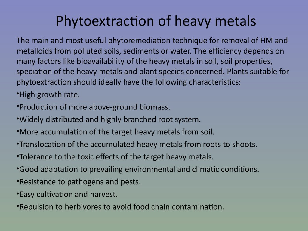 Phytoextraction of heavy metals