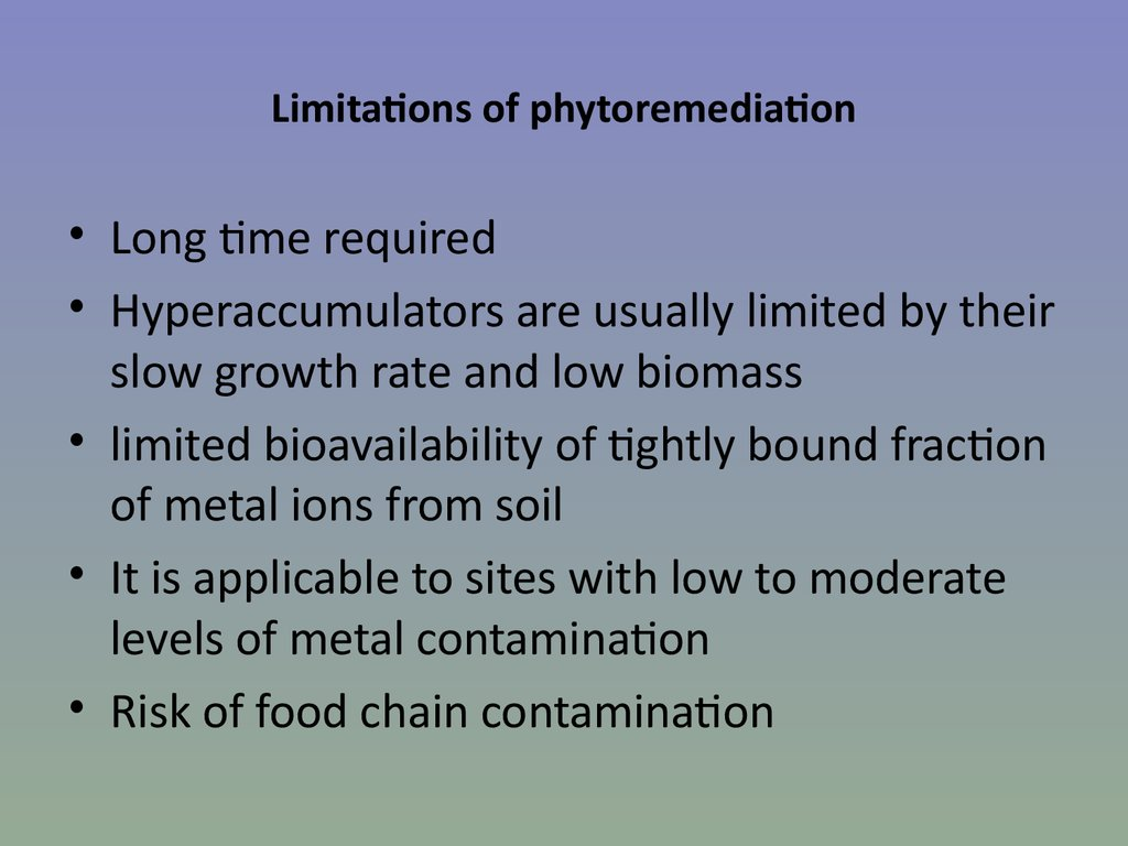 Limitations of phytoremediation