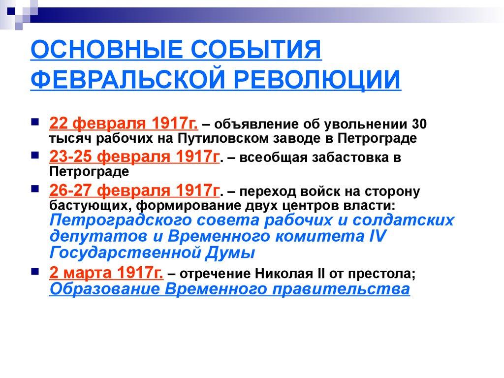 хроника революции 1917 таблица