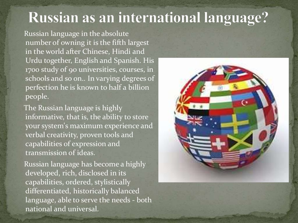 Russian as an international language?