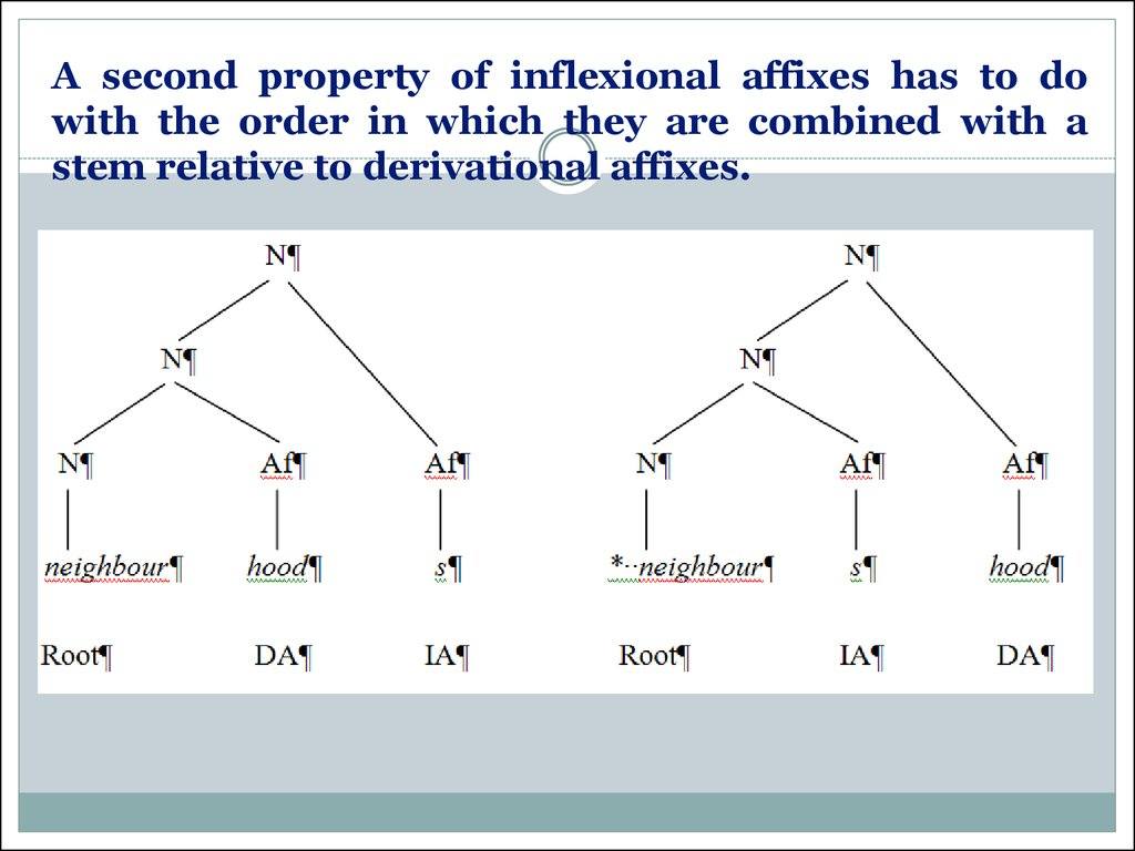 A second property of inflexional affixes has to do with the order in which they are combined with a stem relative to derivational affixes.