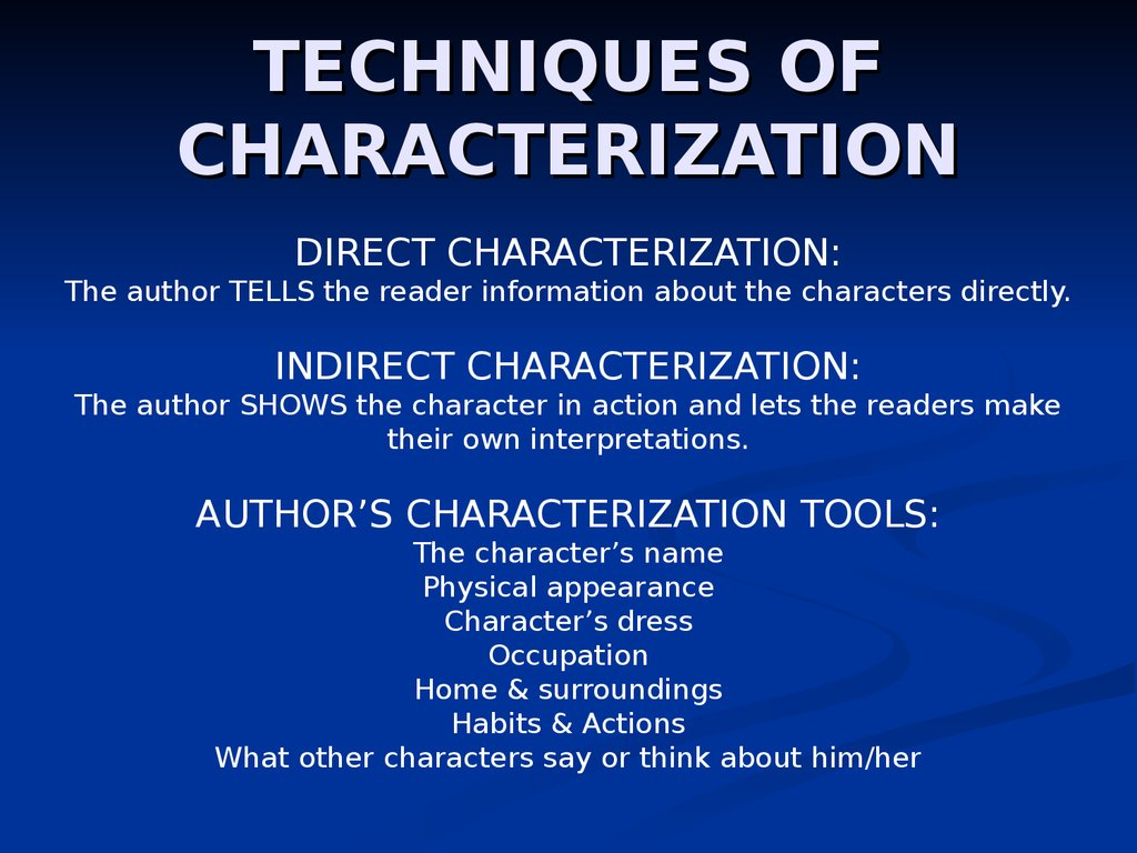 TECHNIQUES OF CHARACTERIZATION