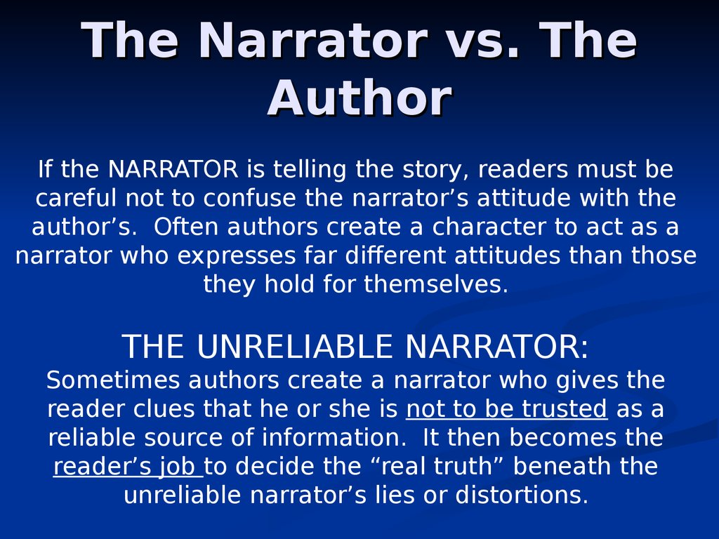 The Narrator vs. The Author