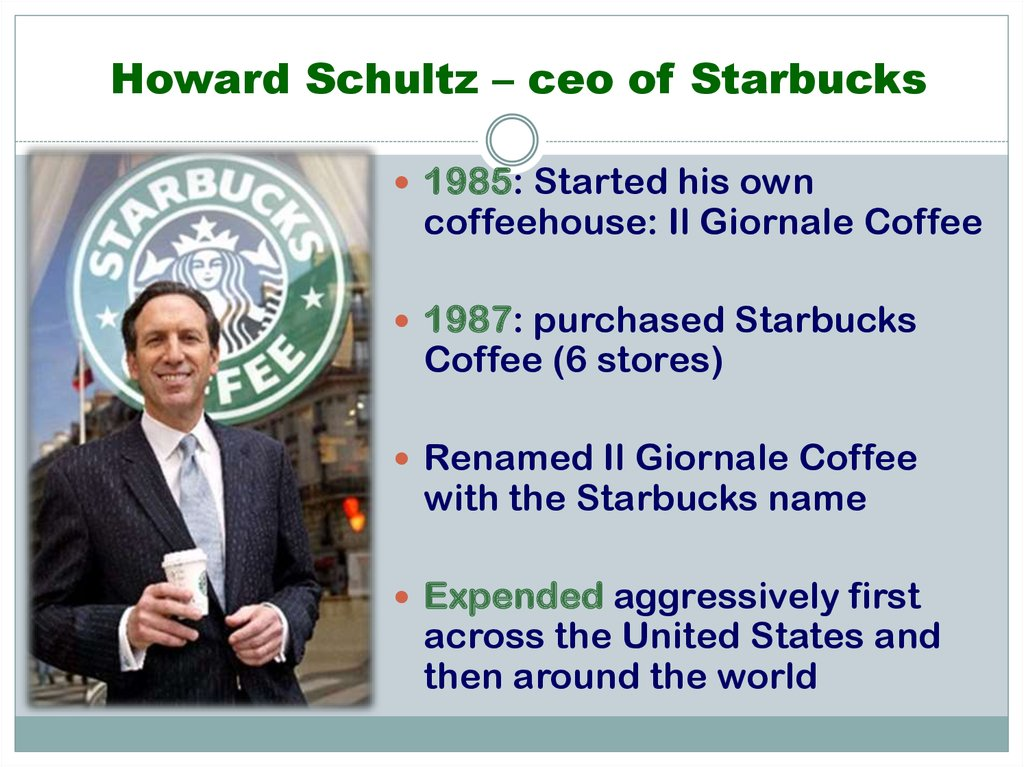 Howard Schultz – ceo of Starbucks