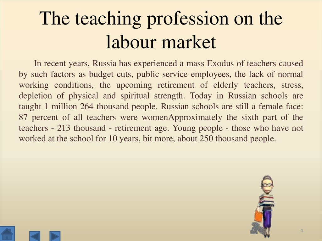The teaching profession on the labour market