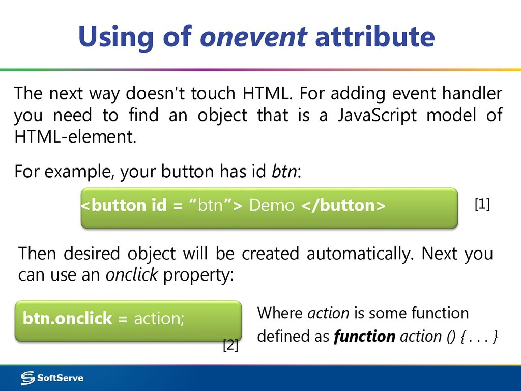 Using of onevent attribute