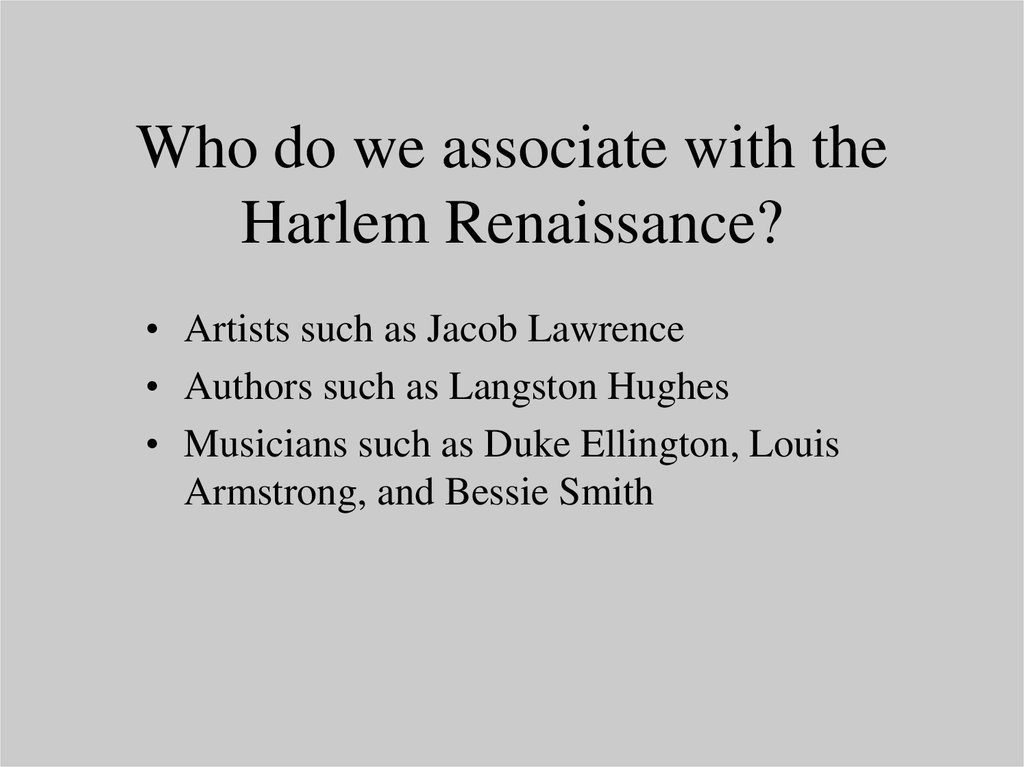 harlem renaissance 7 essay Essay-the harlem renaissance was a short time period in american history from around after world war i to 1939(some sources take the.