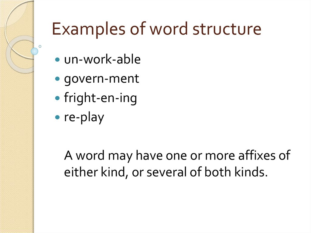 Examples of word structure