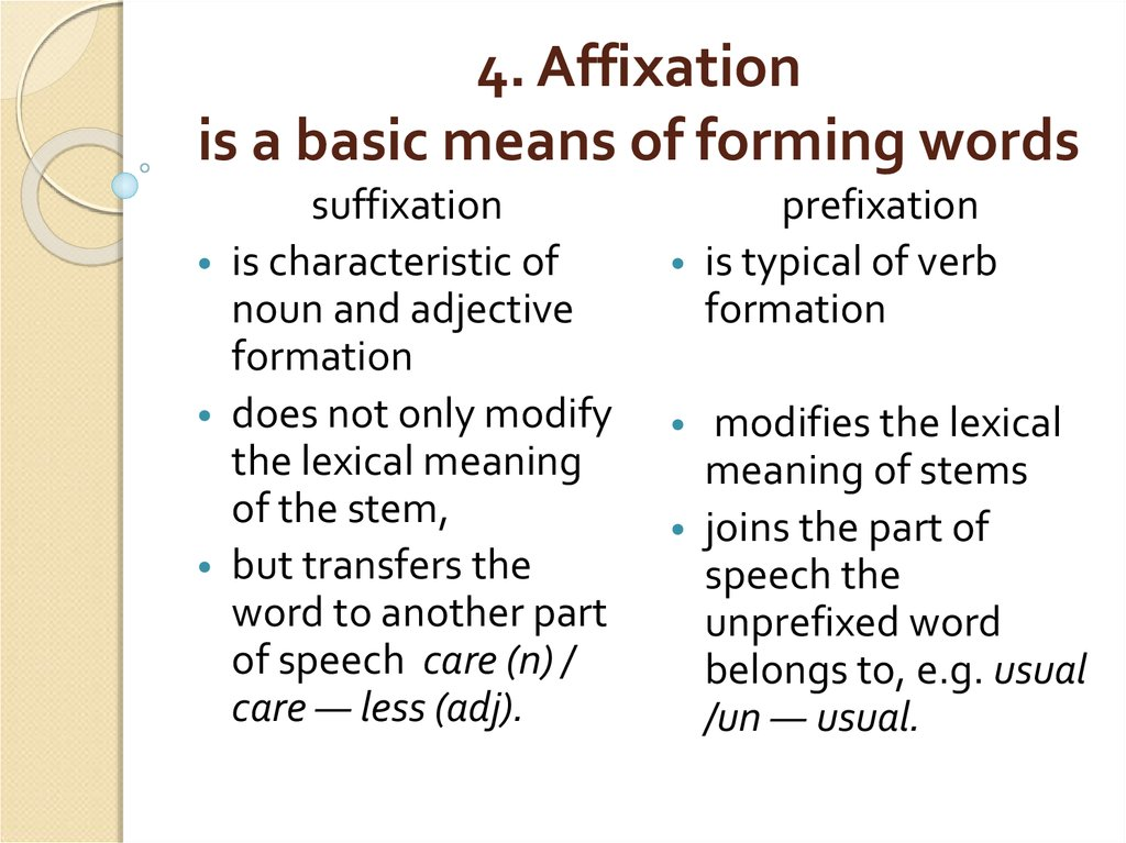 4. Affixation is a basic means of forming words