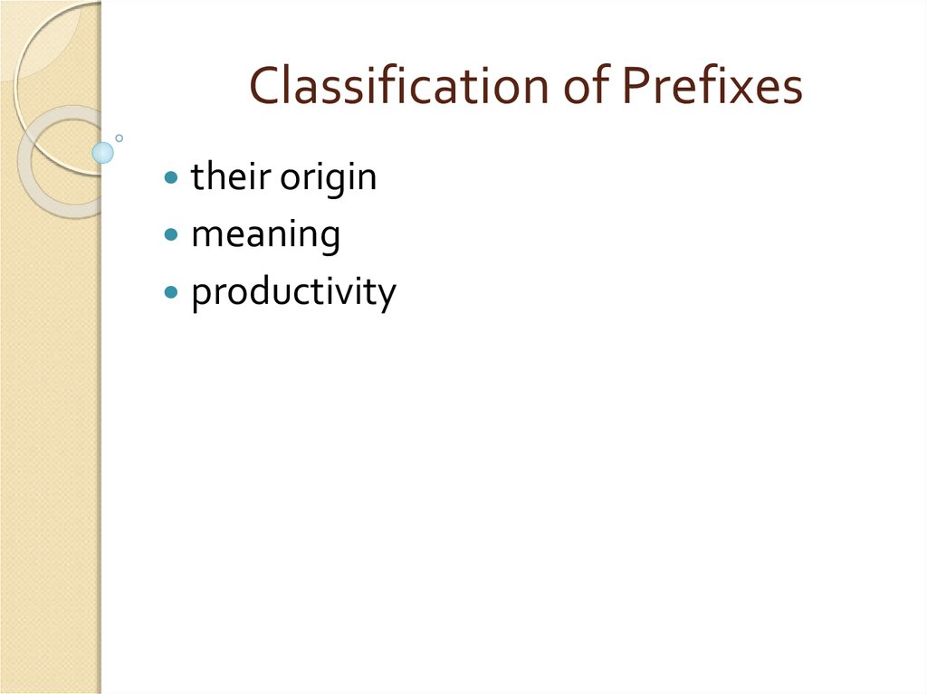 Classification of Prefixes