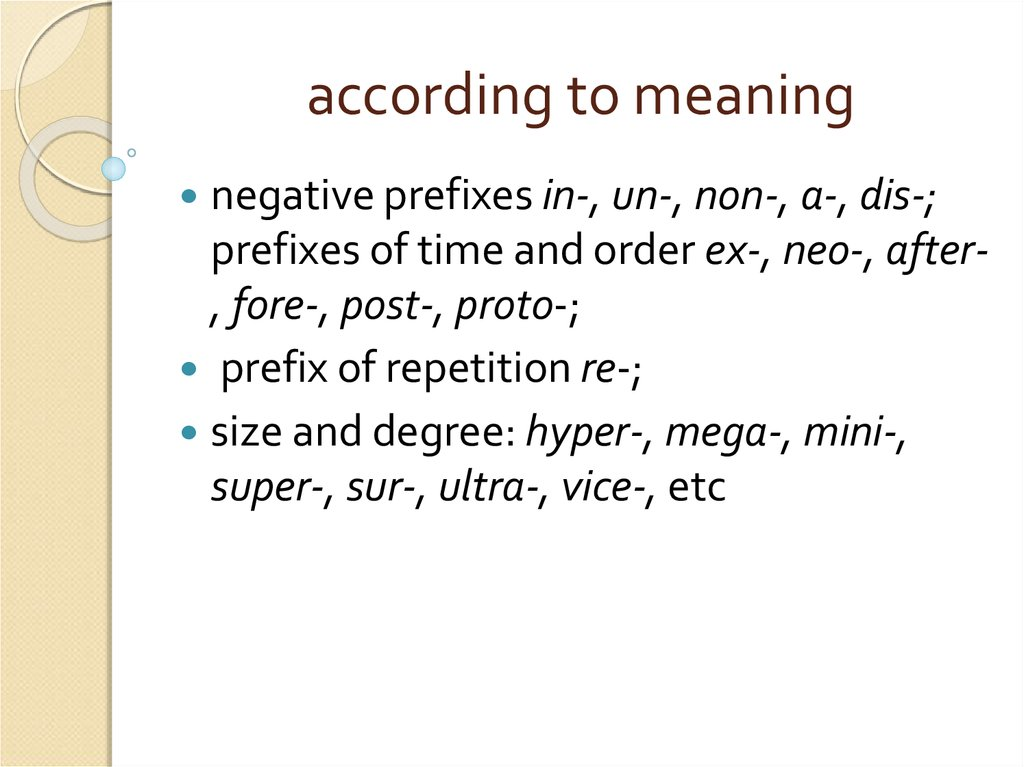according to meaning