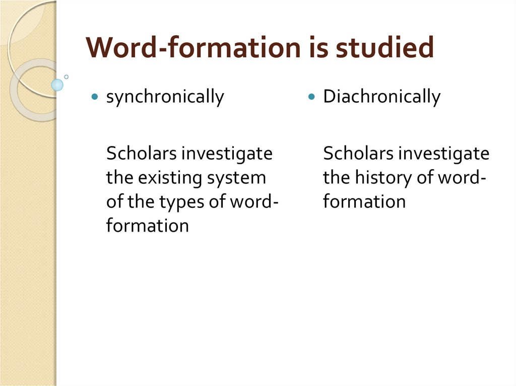 Word-formation is studied