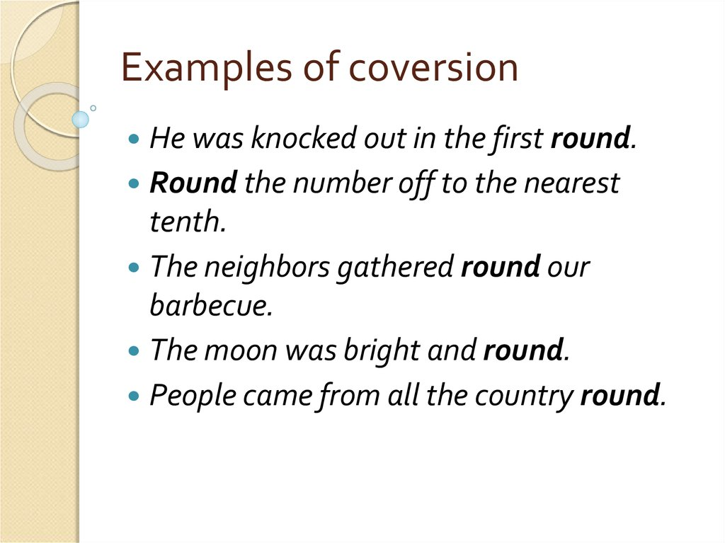 Examples of coversion
