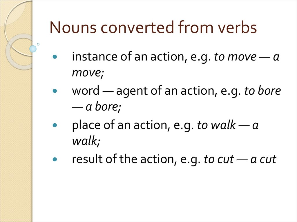 Nouns converted from verbs