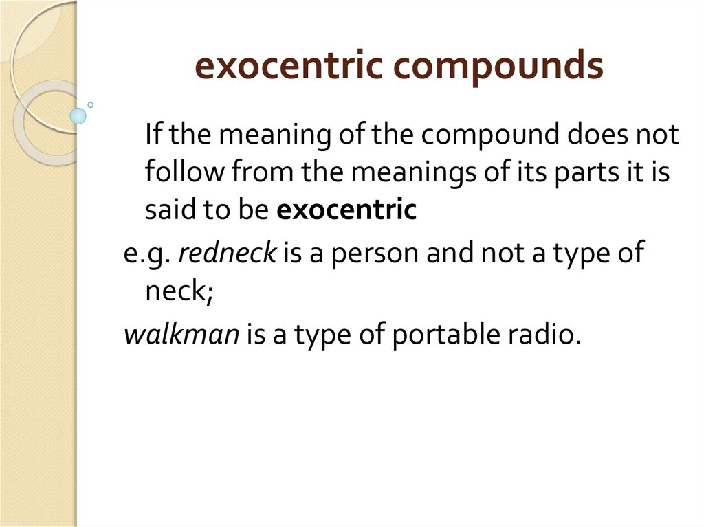 exocentric compounds