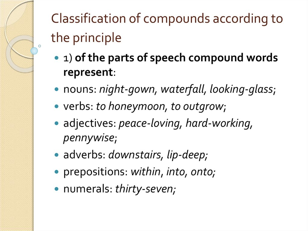 Classification of compounds according to the principle