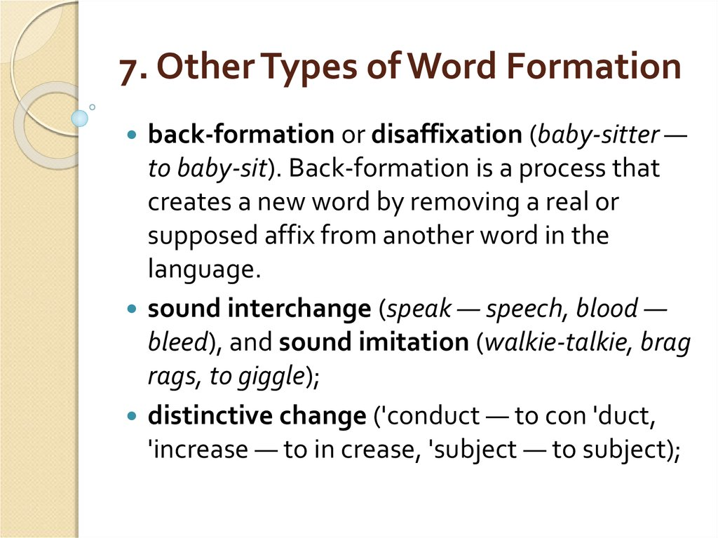 7. Other Types of Word Formation